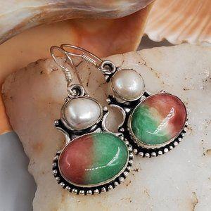 Natural Agate/Pearls Silver Earrings
